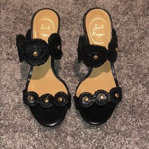 Jack Rogers size 5 black wedges